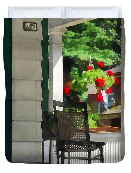 Suburbs - Porch With Rocking Chair And Geraniums Duvet Cover by Susan Savad