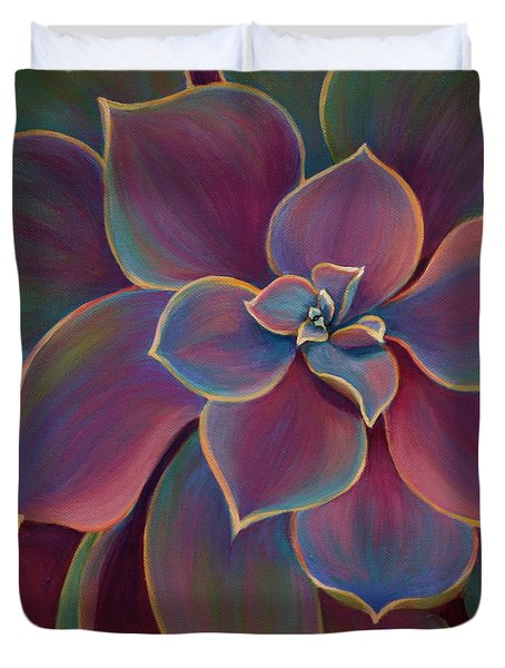 Duvet Cover featuring the painting Succulent Delicacy by Sandi Whetzel