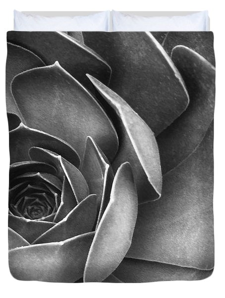 Succulent In Black And White Duvet Cover
