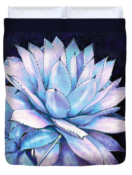 Duvet Cover featuring the digital art Succulent In Blue And Purple by Jane Schnetlage