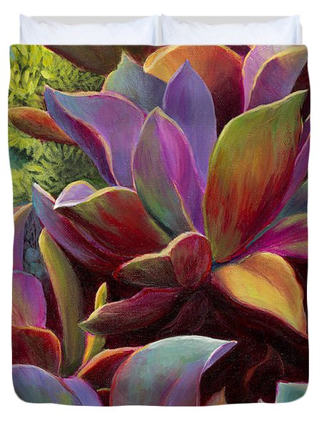 Duvet Cover featuring the painting Succulent Jewels by Sandi Whetzel
