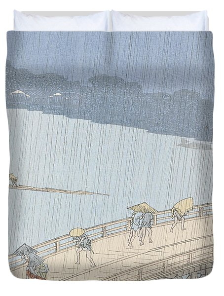 Sudden Shower On Ohashi Bridge At Ataka Duvet Cover