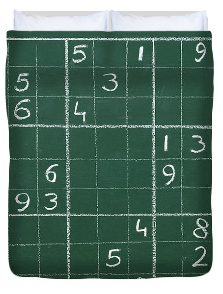 Sudoku On A Chalkboard Duvet Cover