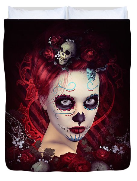Sugar Doll Red Duvet Cover by Shanina Conway