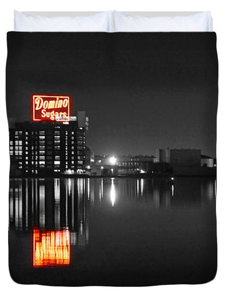 Sugar Glow - Classic Iconic Domino Sugars Neon Sign, Inner Harbor Baltimore, Maryland - Color Splash Duvet Cover