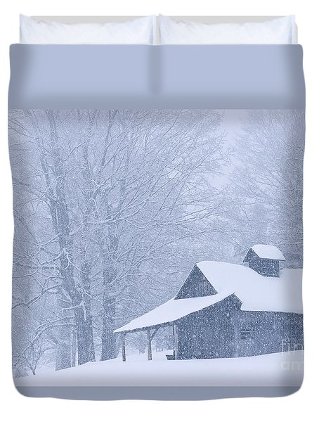 Duvet Cover featuring the photograph Sugarhouse Snowfall by Alan L Graham