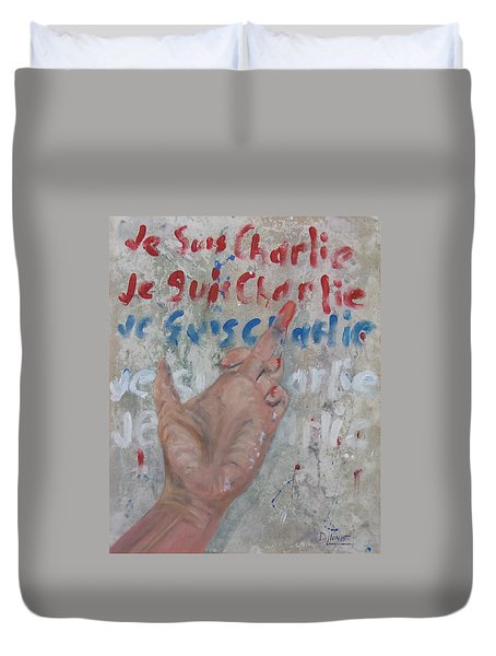 Je Suis Charlie Finger Painting To Al Qaeda Duvet Cover