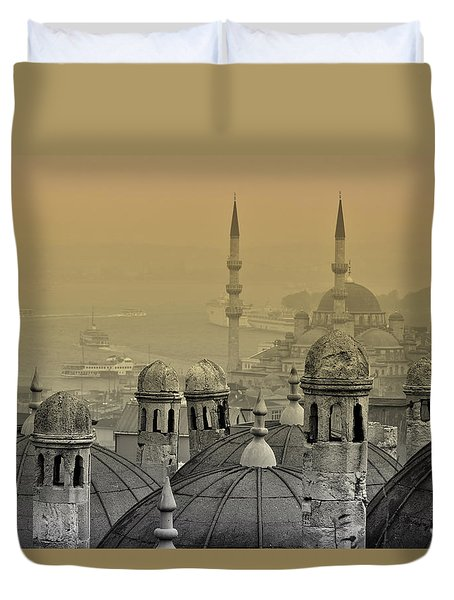 Suleymaniye Mosque And New Mosque In Istanbul Duvet Cover by Ayhan Altun