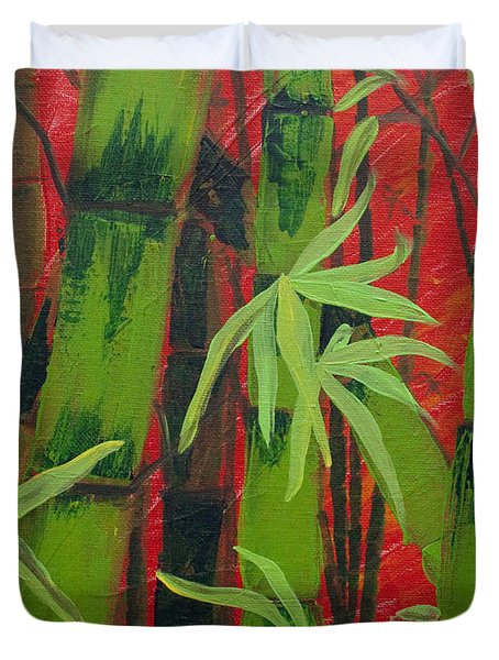 Sultry Bamboo Forest Acrylic Painting Duvet Cover