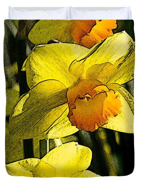 Sumi-e In Yellow Duvet Cover