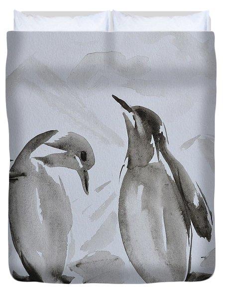 Sumi-e Penguin Dance Duvet Cover