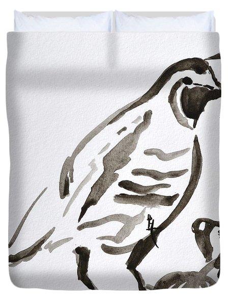 Sumi-e Quail Duvet Cover by Beverley Harper Tinsley