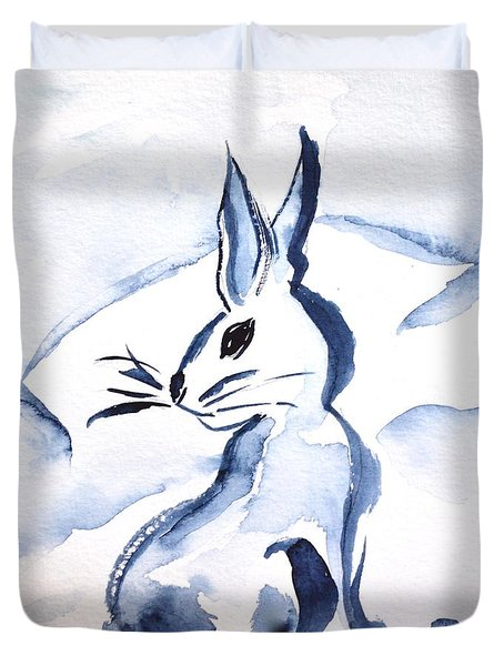 Sumi-e Snow Bunny Duvet Cover by Beverley Harper Tinsley