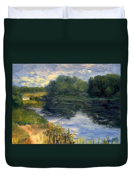 Duvet Cover featuring the painting Summer At Jackson Lake by Gail Kirtz