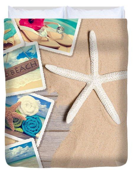 Summer Beach Postcards Duvet Cover by Amanda Elwell