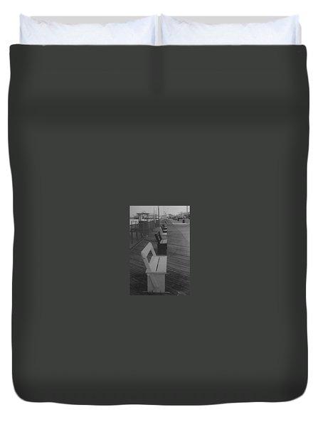 Summer Benches Seaside Heights Nj Bw Duvet Cover by Joann Renner