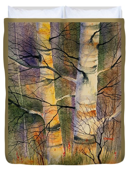Duvet Cover featuring the painting Summer Birch II by Teresa Ascone