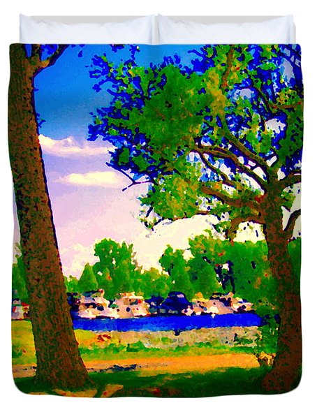 Summer Boats Moored Along Tree Lined Lachine Canal Quebec Landscapes  Montreal Art Carole Spandau Duvet Cover by Carole Spandau