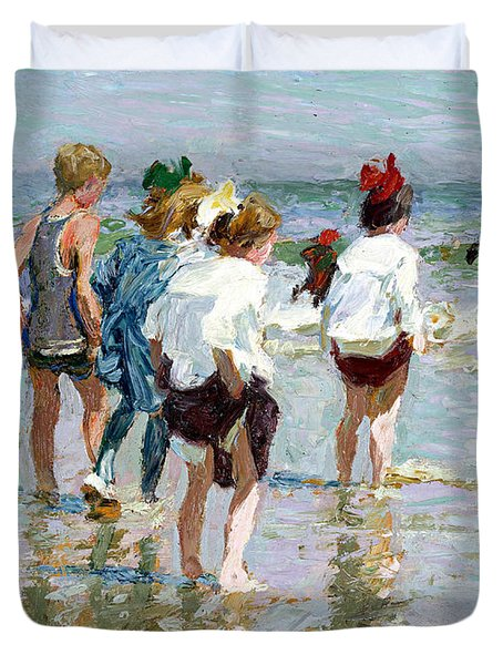 Summer Day At Brighton Beach Duvet Cover by Edward Potthast