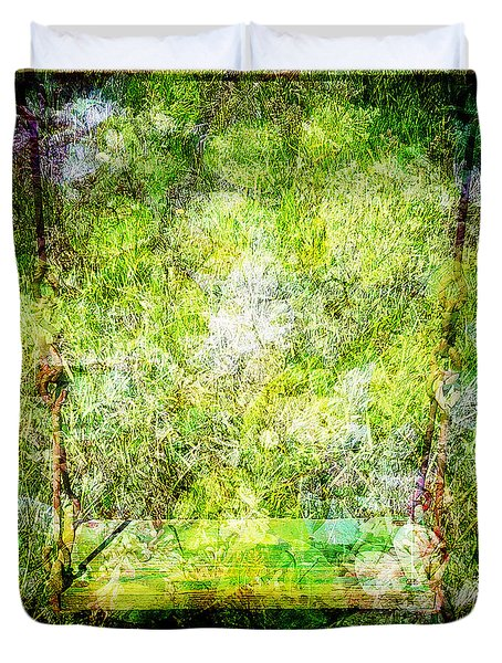 Duvet Cover featuring the mixed media Summer Days Of Yore #1 by Sandy MacGowan