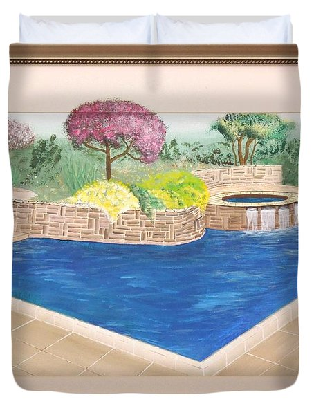 Duvet Cover featuring the painting Summer Days by Ron Davidson