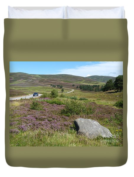 Duvet Cover featuring the photograph Summer Drive - Glen Gairn by Phil Banks
