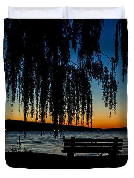 Summer Evening At Stewart Park Duvet Cover