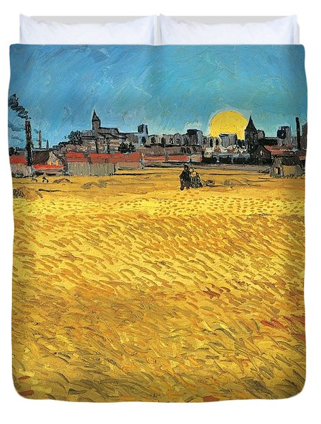 Summer Evening Wheat Field At Sunset Duvet Cover by Vincent van Gogh