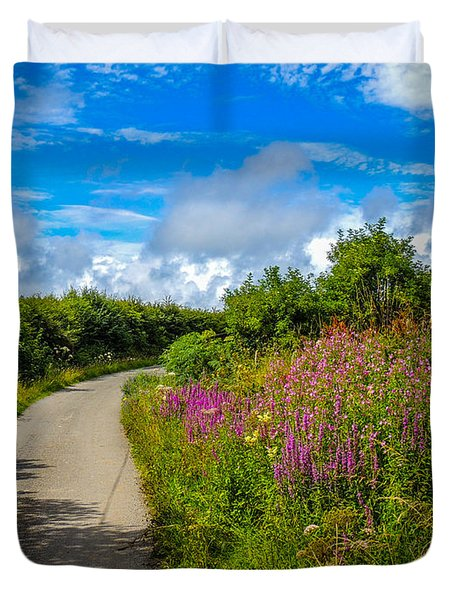 Summer Flowers On Irish Country Road Duvet Cover