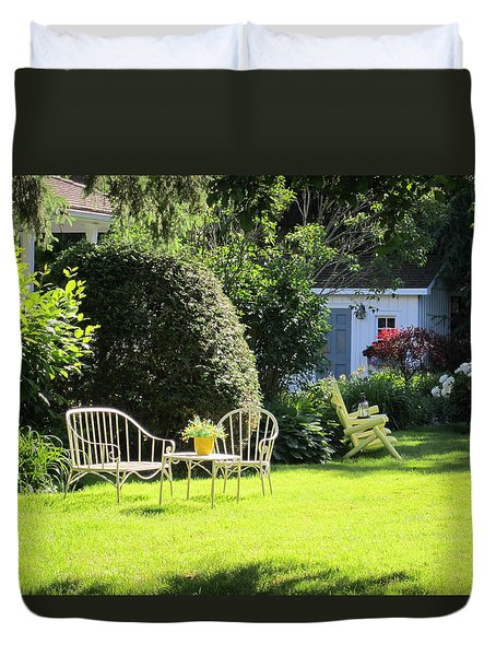 Duvet Cover featuring the photograph Summer Garden by Jieming Wang