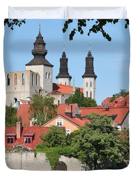 Summer Green Medieval Town Duvet Cover