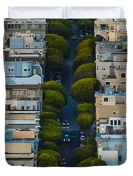 Summer Green On Lombard Street Duvet Cover