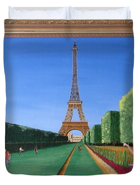 Duvet Cover featuring the painting Summer In Paris by Ron Davidson
