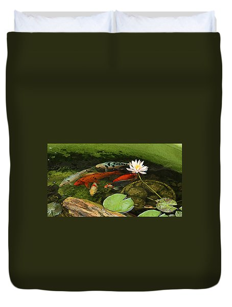 Summer Koi And Lilly Duvet Cover
