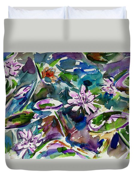 Summer Lily Pond Duvet Cover by Xueling Zou
