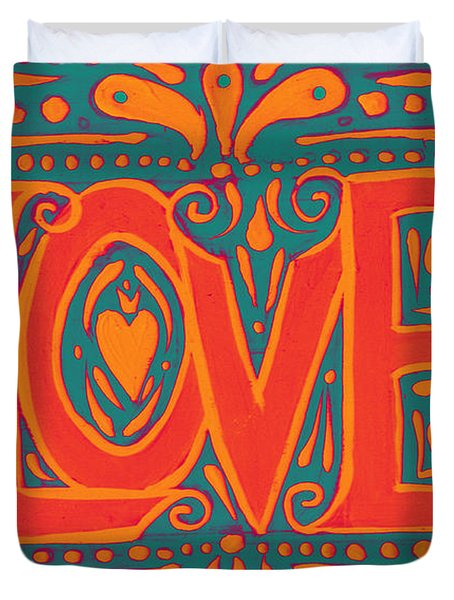 Duvet Cover featuring the painting Summer Love  by Nada Meeks