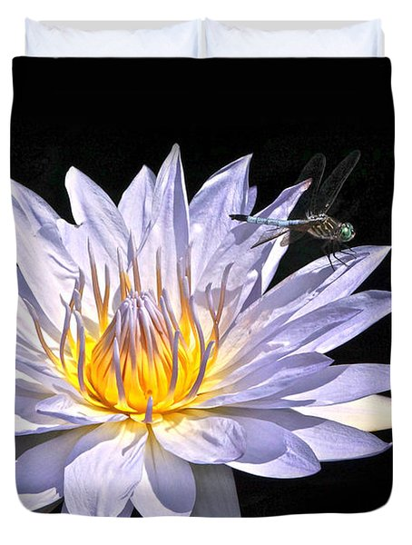 Summer Magic -- Dragonfly On Waterlily On Black Duvet Cover