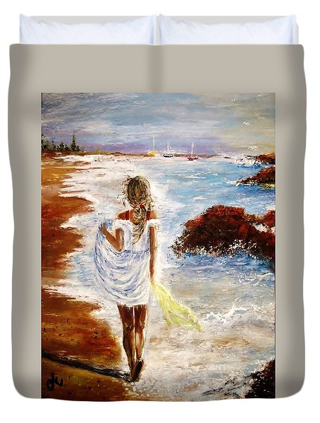 Duvet Cover featuring the painting Summer Memories by Cristina Mihailescu