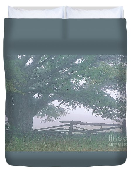 Duvet Cover featuring the photograph Summer Morning Fog by Alan L Graham