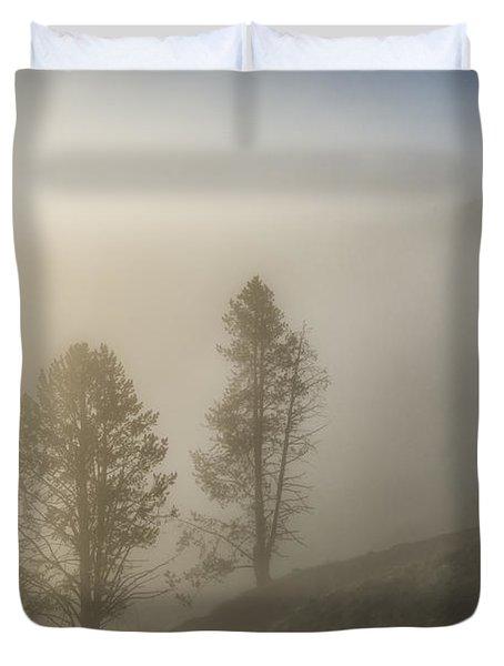 Summer Morning In Yellowstone Duvet Cover by Sandra Bronstein