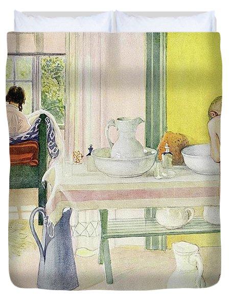 Summer Morning Pub In Lasst Licht Hinin Let In More Light Duvet Cover by Carl Larsson