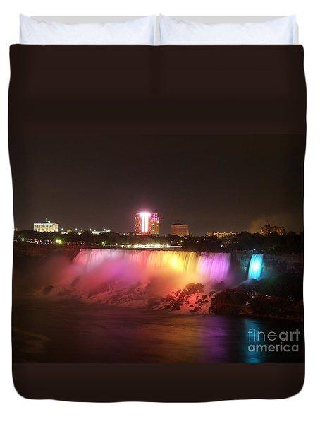 Summer Night In Niagara Falls Duvet Cover