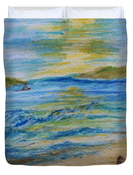 Duvet Cover featuring the painting Summer/ North Wales  by Teresa White
