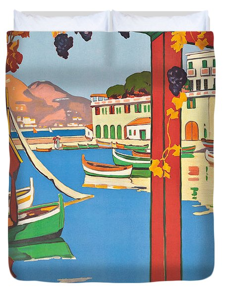 Summer On The Cote D Azur Duvet Cover by Guillaume Georges Roger
