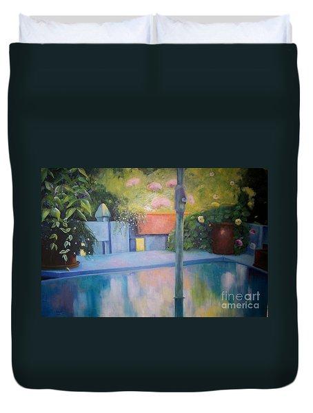 Summer On The Deck Duvet Cover by Marlene Book
