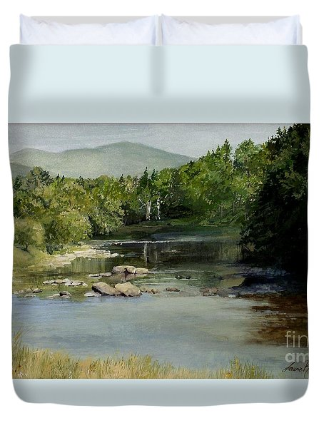 Summer On The River In Vermont Duvet Cover