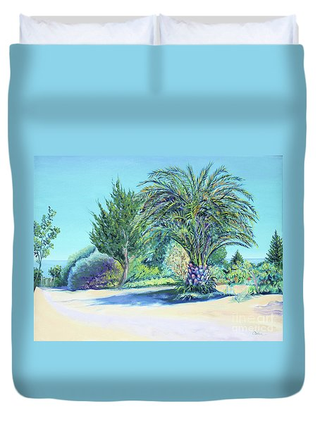 Summer Palm Tree In Garden By The Sea Duvet Cover