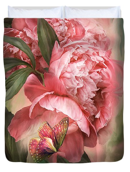 Summer Peony - Melon Duvet Cover by Carol Cavalaris