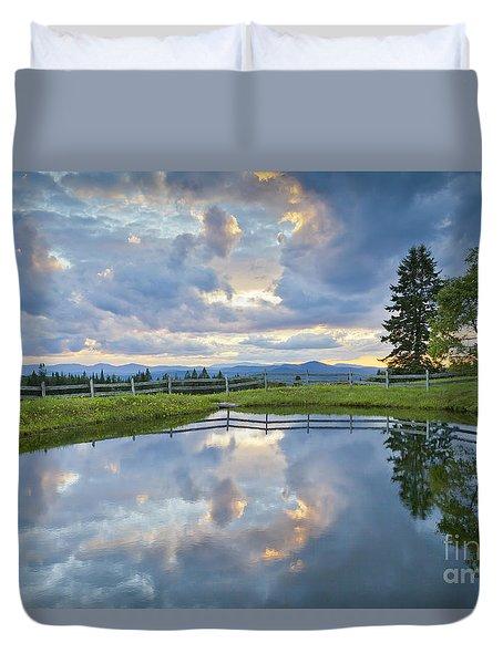 Summer Pond Reflection Duvet Cover