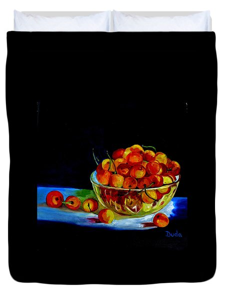 Summer Rainier Cherries Duvet Cover